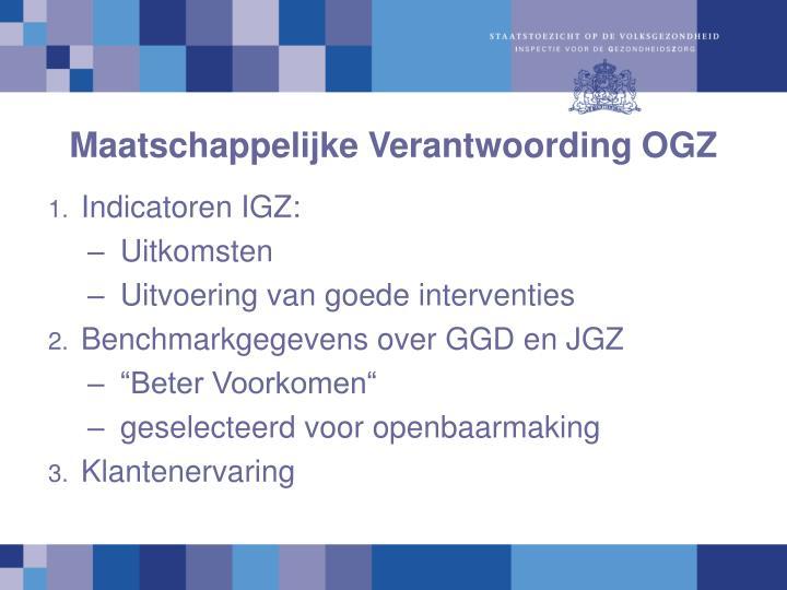 Maatschappelijke Verantwoording OGZ