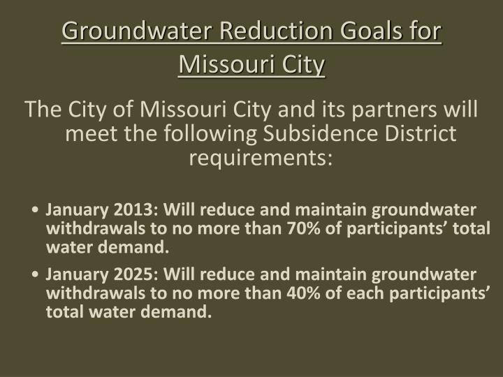 Groundwater Reduction Goals for Missouri City