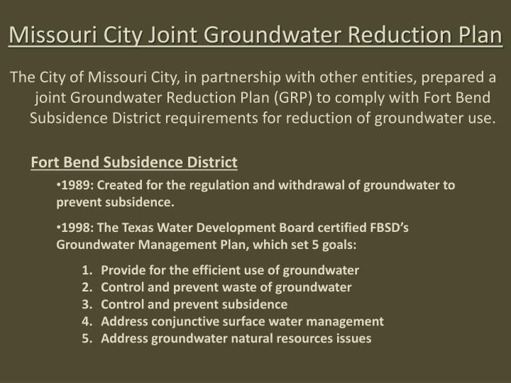 Missouri City Joint Groundwater Reduction Plan