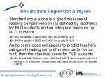 results from regression analyses