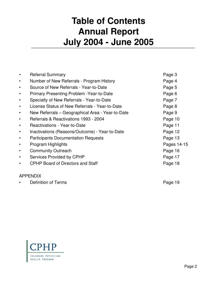 Table of contents annual report july 2004 june 2005