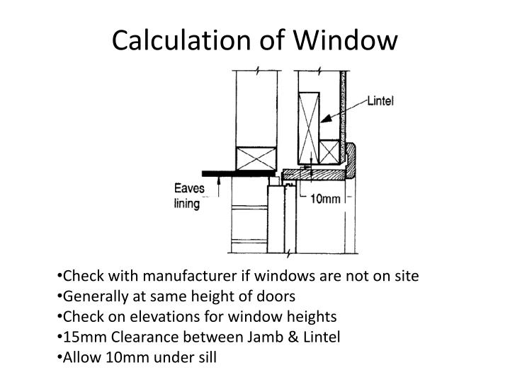 Calculation of Window