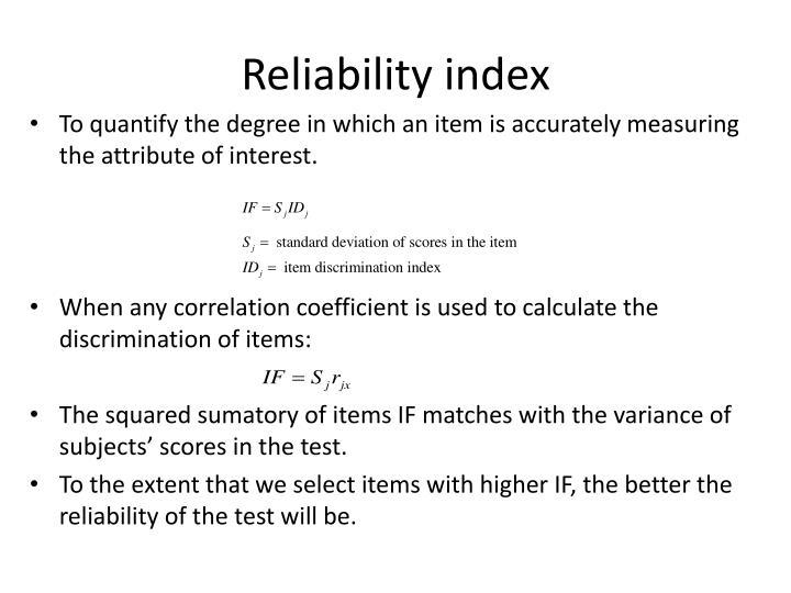 Reliability index