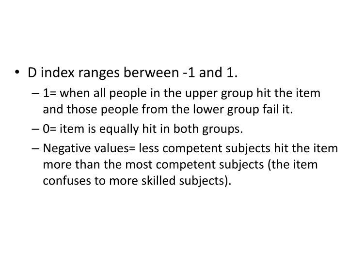 D index ranges berween -1 and 1.
