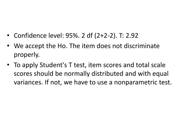 Confidence level: 95%. 2 df (2+2-2). T: 2.92