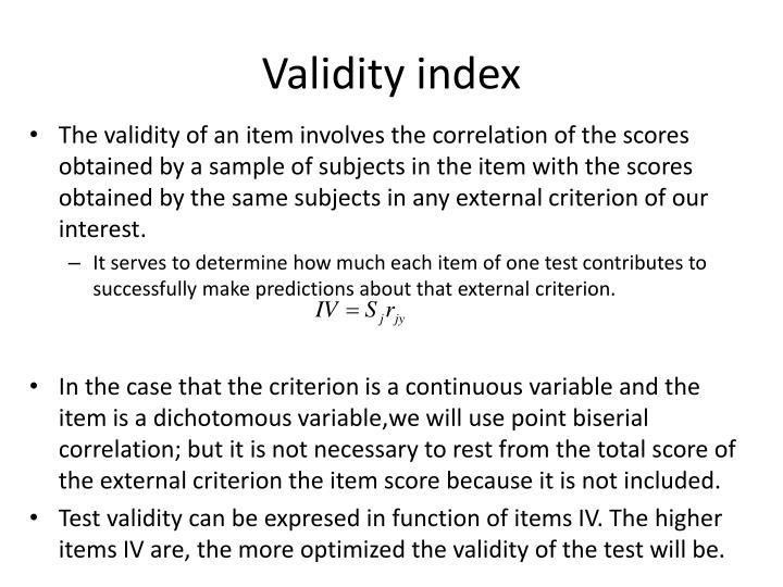 Validity index