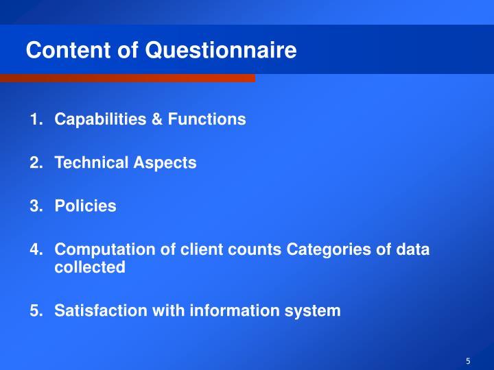 Content of Questionnaire