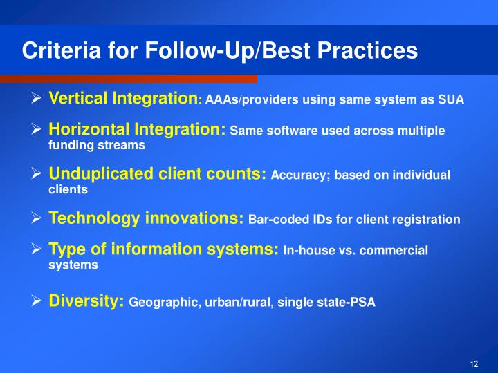 Criteria for Follow-Up/Best Practices