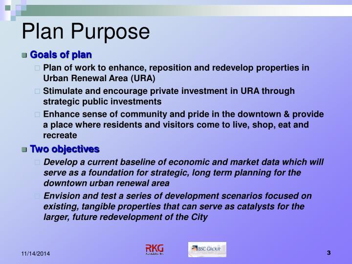 Plan purpose
