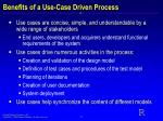 benefits of a use case driven process