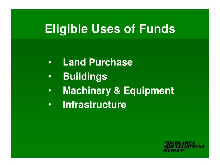 Eligible Uses of Funds