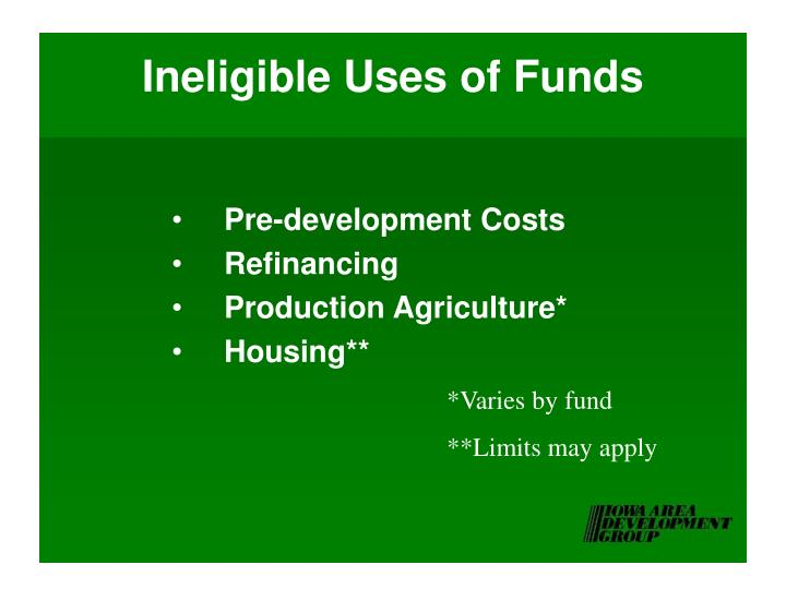 Ineligible Uses of Funds