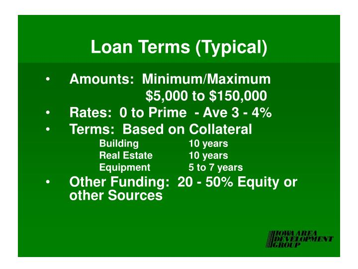 Loan Terms (Typical)