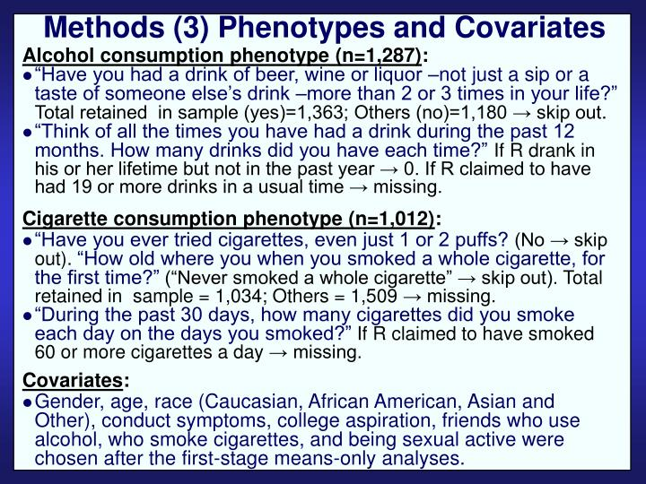 Methods (3) Phenotypes and Covariates