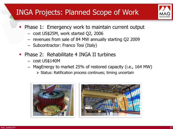 INGA Projects: Planned Scope of Work