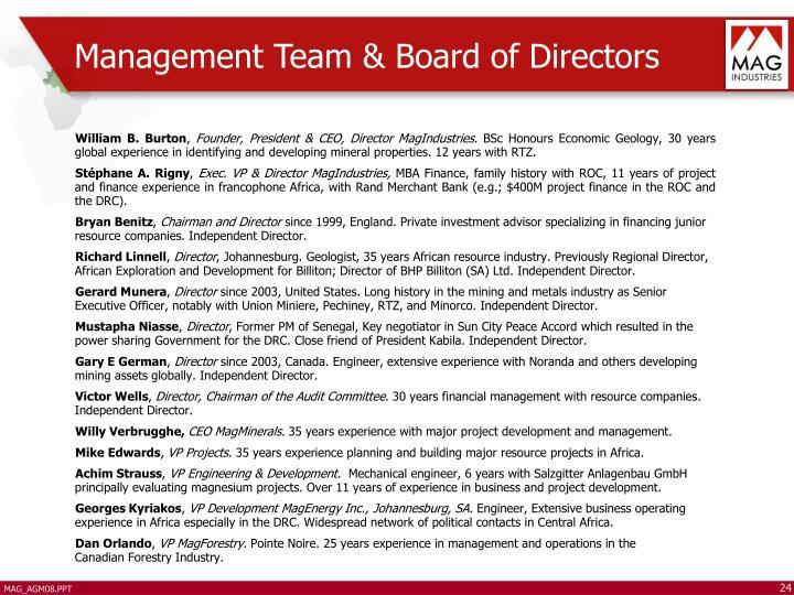 Management Team & Board of Directors