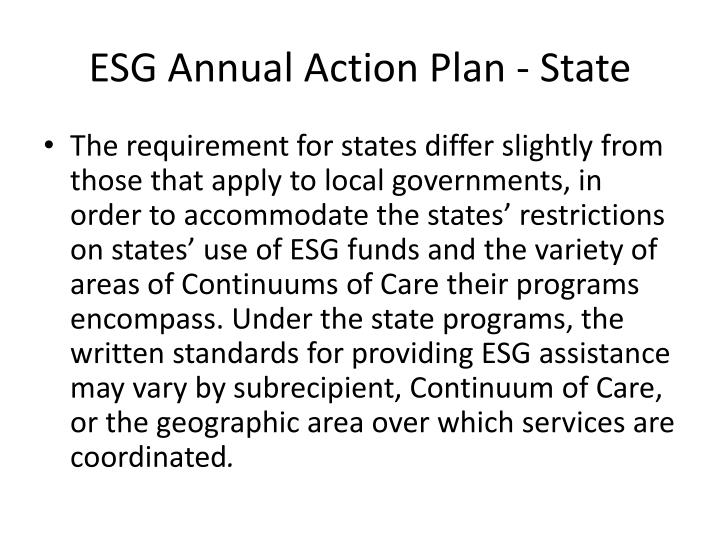 ESG Annual Action Plan - State