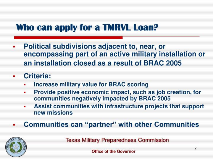 Who can apply for a tmrvl loan