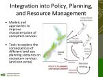 integration into policy planning and resource management