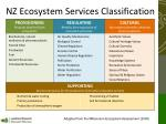 nz ecosystem services classification