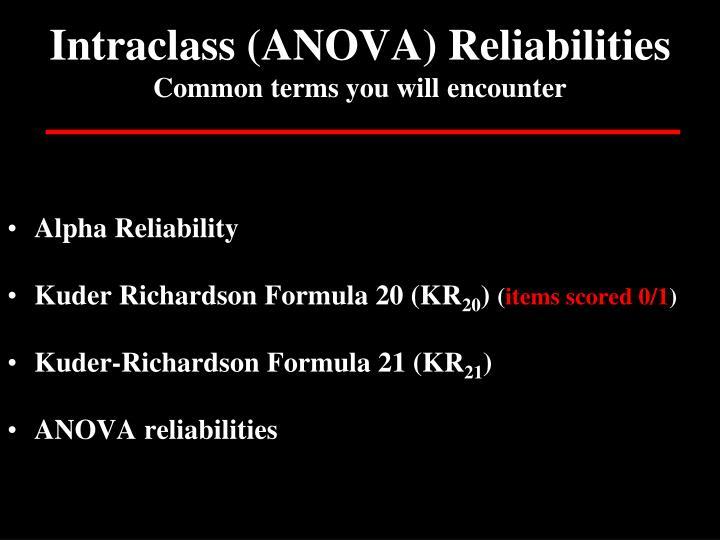 Intraclass (ANOVA) Reliabilities