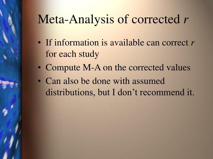 Meta-Analysis of corrected