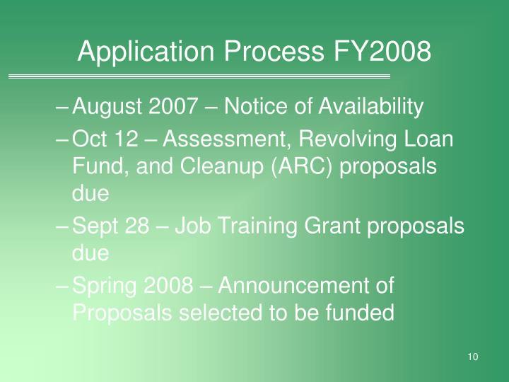 Application Process FY2008