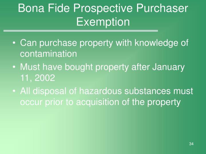 Bona Fide Prospective Purchaser Exemption