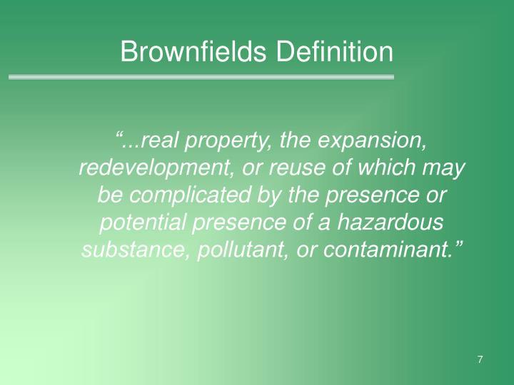 Brownfields Definition