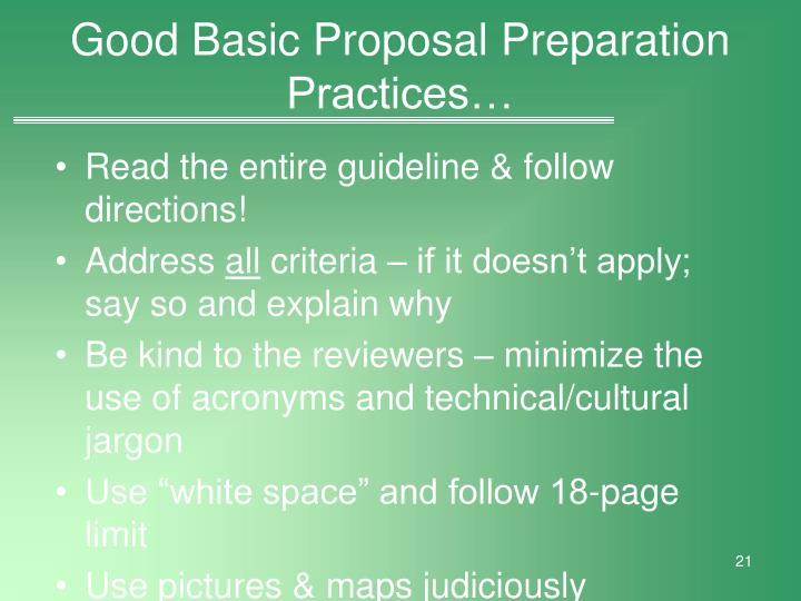 Good Basic Proposal Preparation Practices…