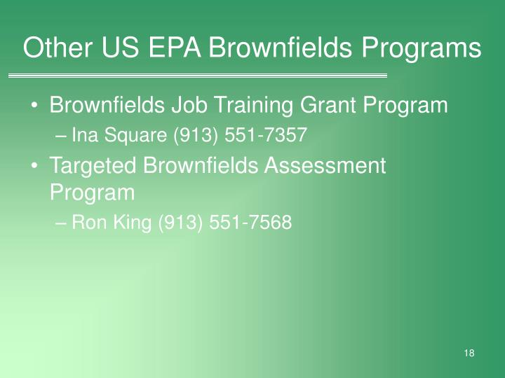 Other US EPA Brownfields Programs