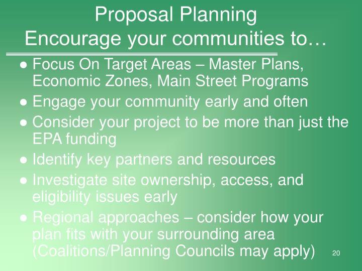 Proposal Planning