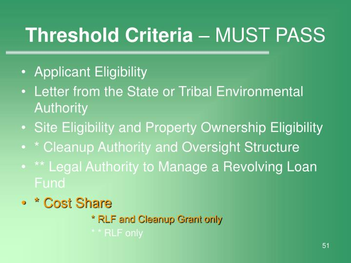 Threshold Criteria