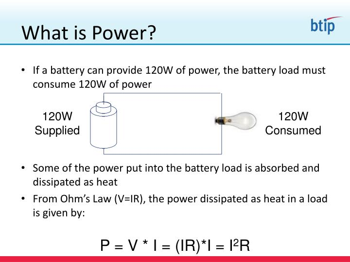 If a battery can provide 120W of power, the battery load must consume 120W of power