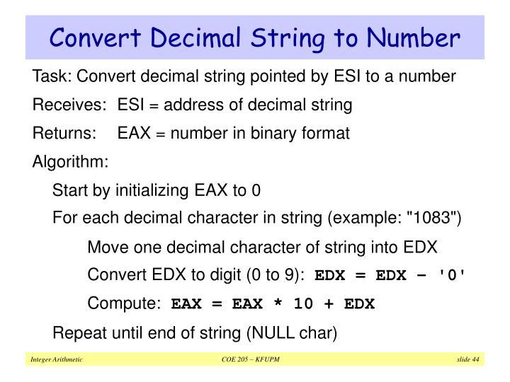 Convert Decimal String to Number
