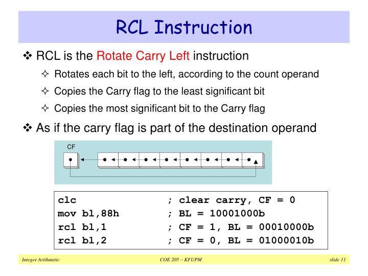 RCL Instruction