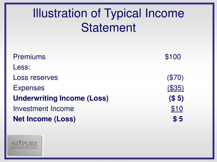 Illustration of Typical Income Statement
