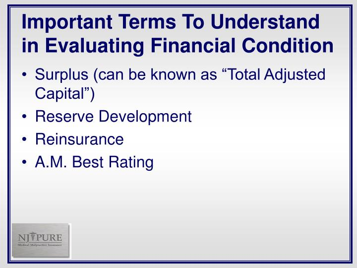 Important Terms To Understand in Evaluating Financial Condition