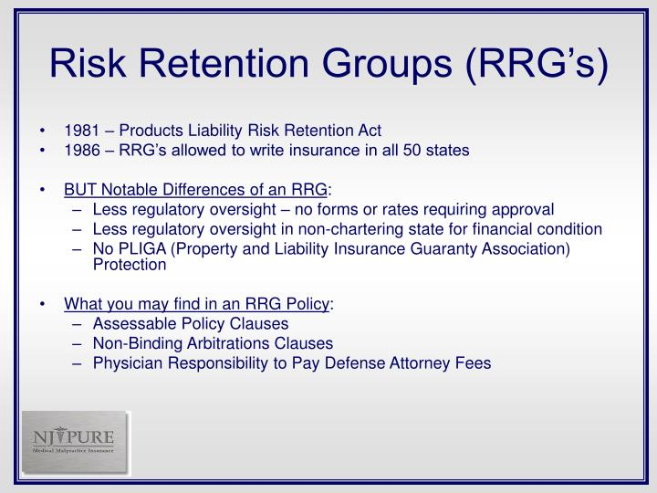 Risk Retention Groups (RRG's)
