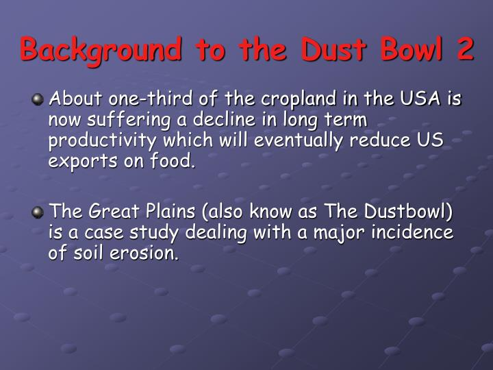 Background to the dust bowl 2
