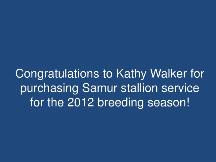 Congratulations to Kathy Walker for purchasing Samur stallion service for the 2012 breeding season!