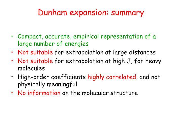Dunham expansion: summary