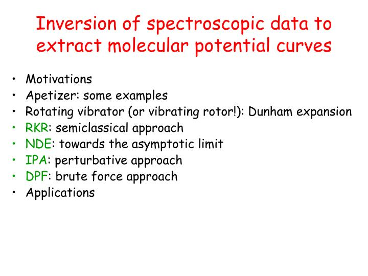 Inversion of spectroscopic data to extract molecular potential curves
