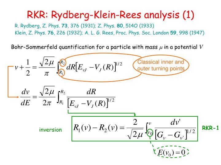 RKR: Rydberg-Klein-Rees analysis (1)