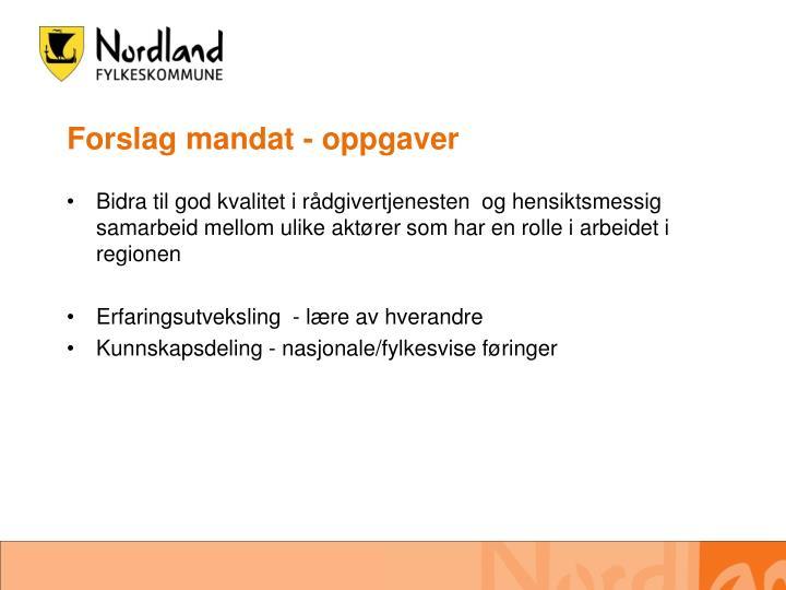Forslag mandat - oppgaver