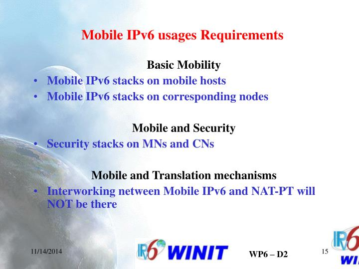 Mobile IPv6 usages Requirements