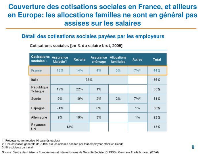 Couverture des cotisations sociales en France, et ailleurs en Europe: les allocations familles ne sont en général pas assises sur les salaires