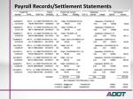 payroll records settlement statements