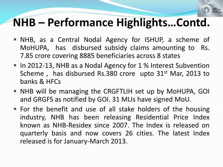 NHB – Performance Highlights…Contd.