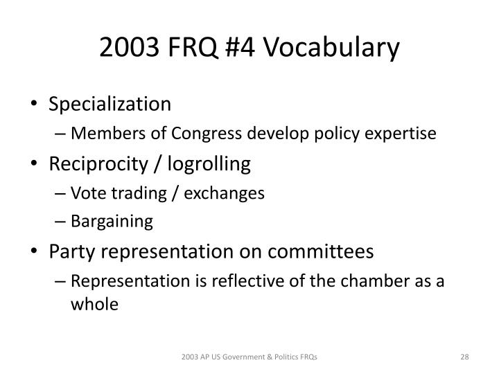 2003 FRQ #4 Vocabulary